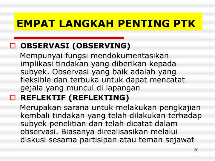 EMPAT LANGKAH PENTING PTK