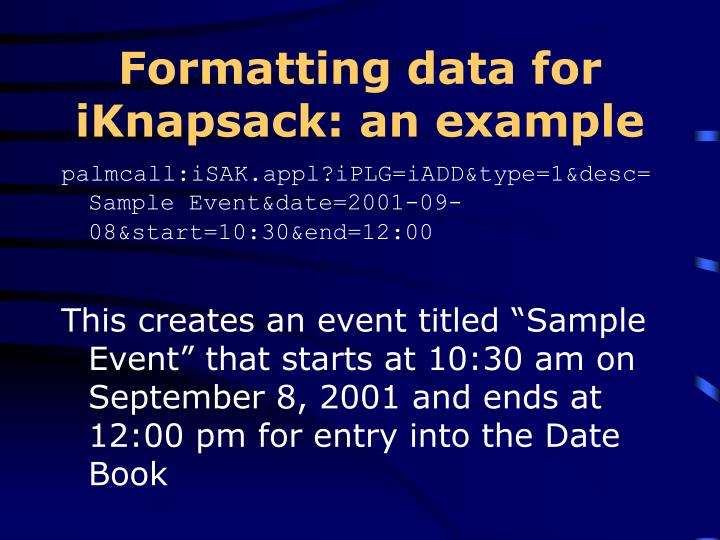 Formatting data for iKnapsack: an example