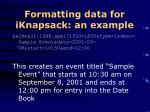 formatting data for iknapsack an example