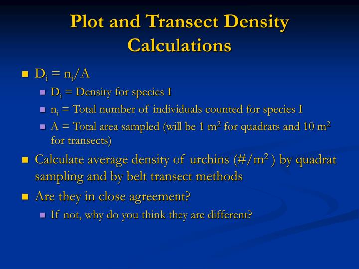 Plot and Transect Density Calculations