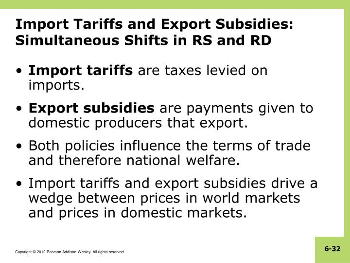 Import Tariffs and Export Subsidies: Simultaneous Shifts in RS and RD
