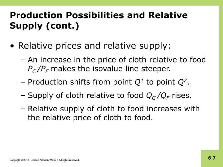 Production Possibilities and Relative Supply (cont.)