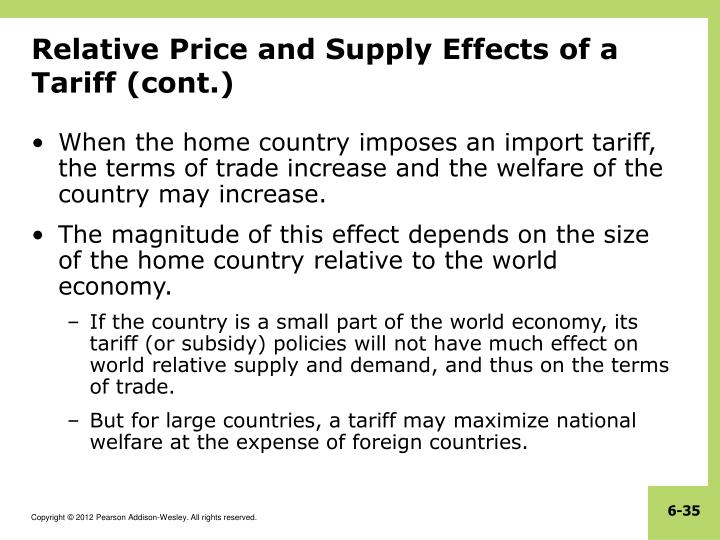 Relative Price and Supply Effects of a Tariff (cont.)