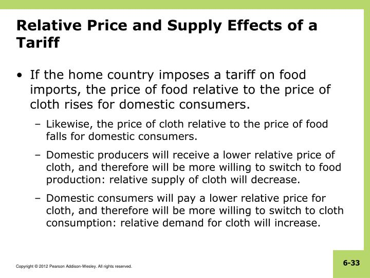 Relative Price and Supply Effects of a Tariff