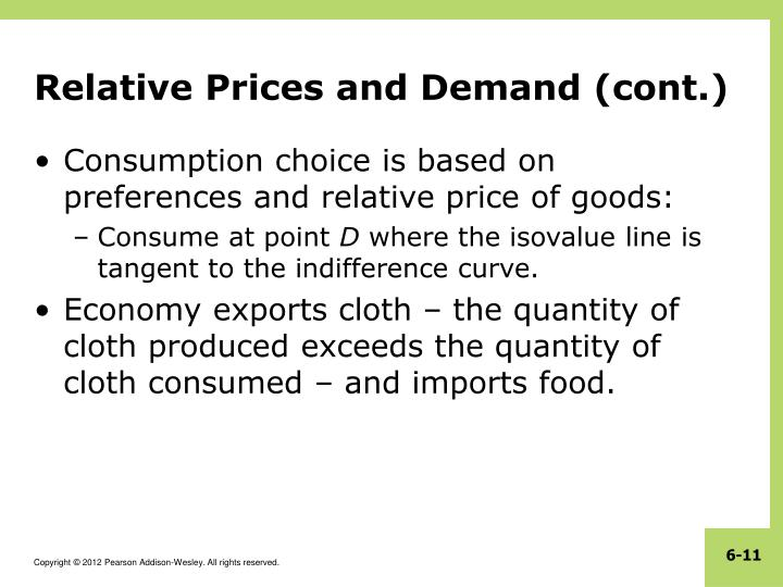 Relative Prices and Demand (cont.)