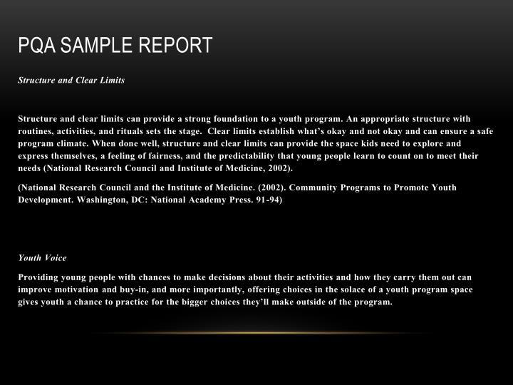 PQA Sample Report
