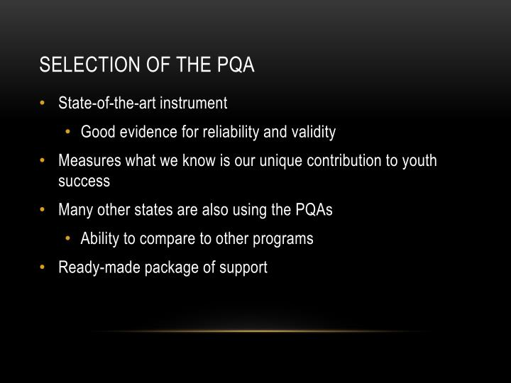 Selection of the PQA