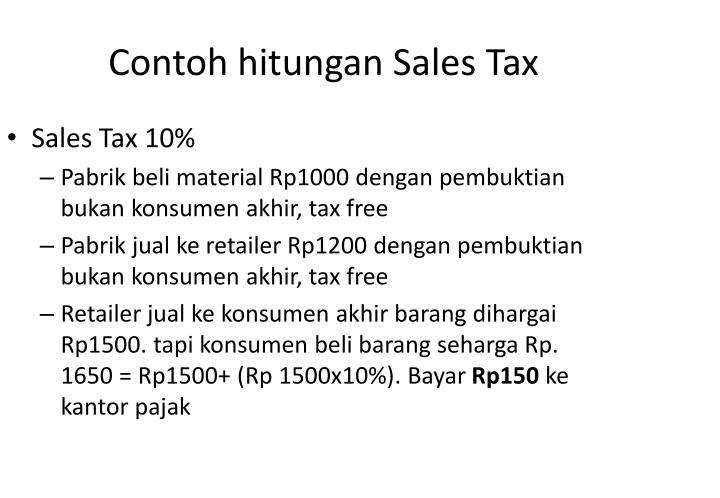Contoh hitungan Sales Tax