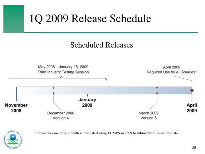 1Q 2009 Release Schedule