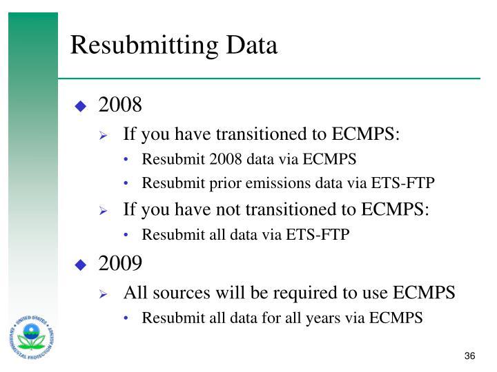 Resubmitting Data