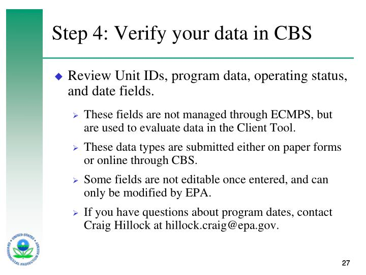 Step 4: Verify your data in CBS