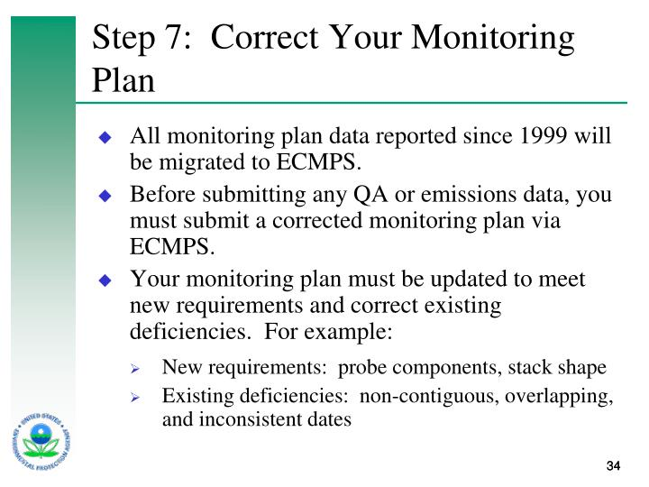 Step 7:  Correct Your Monitoring Plan