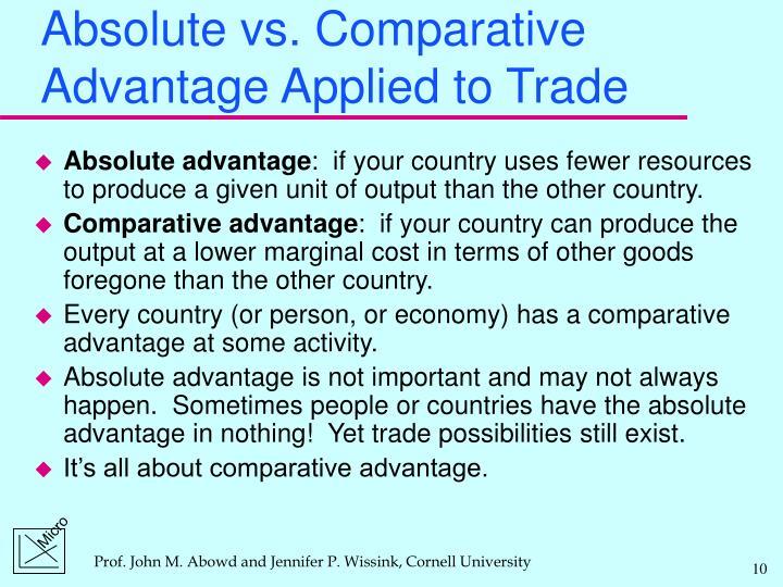 Absolute vs. Comparative Advantage Applied to Trade