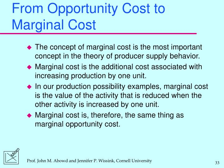 From Opportunity Cost to Marginal Cost