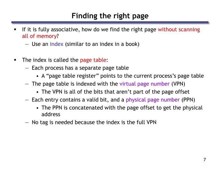 Finding the right page