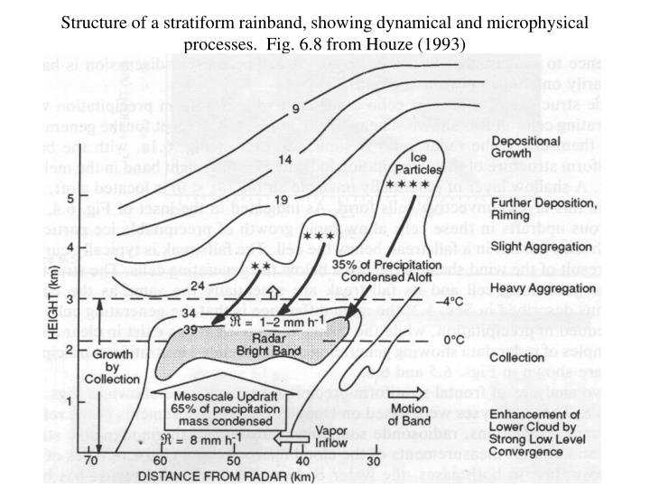 Structure of a stratiform rainband, showing dynamical and microphysical processes.  Fig. 6.8 from Houze (1993)
