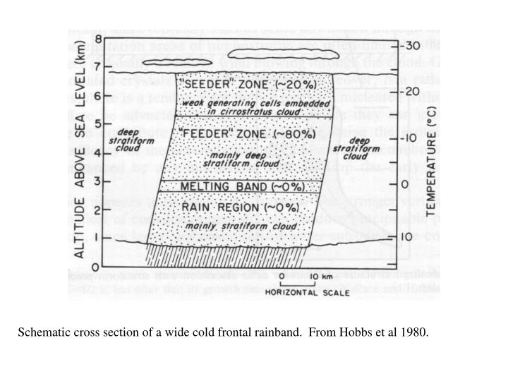 Schematic cross section of a wide cold frontal rainband.  From Hobbs et al 1980.