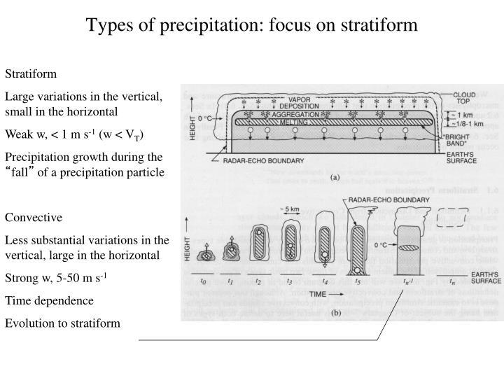 Types of precipitation: focus on stratiform