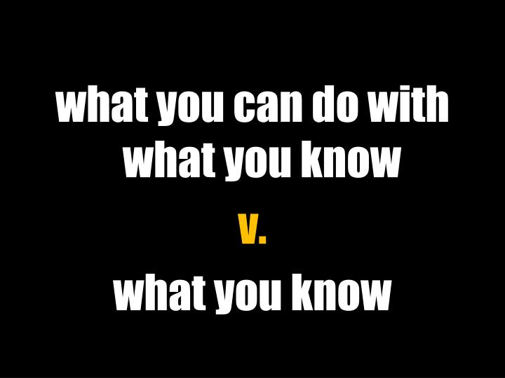 what you can do with what you know