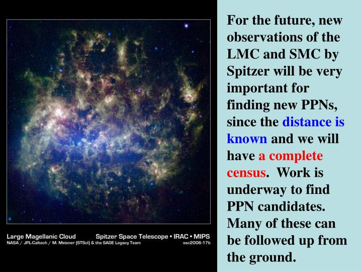 For the future, new observations of the LMC and SMC by Spitzer will be very important for finding new PPNs, since the