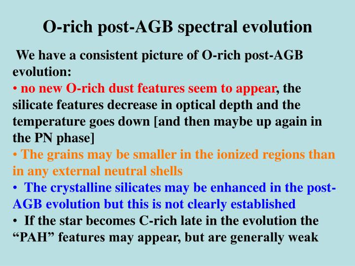 O-rich post-AGB spectral evolution