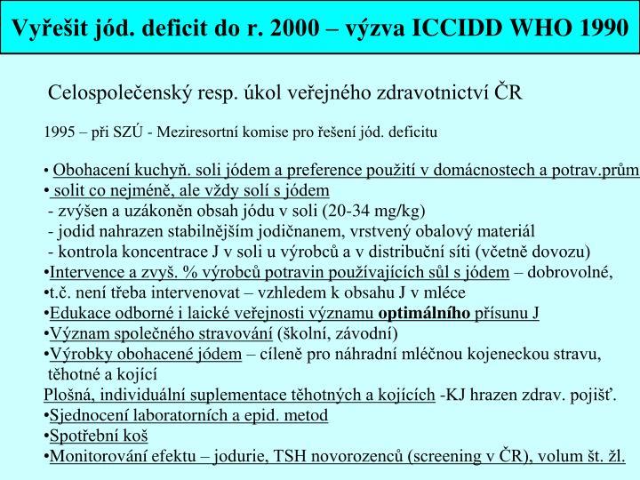 Vyřešit jód. deficit do r. 2000 – výzva ICCIDD WHO 1990