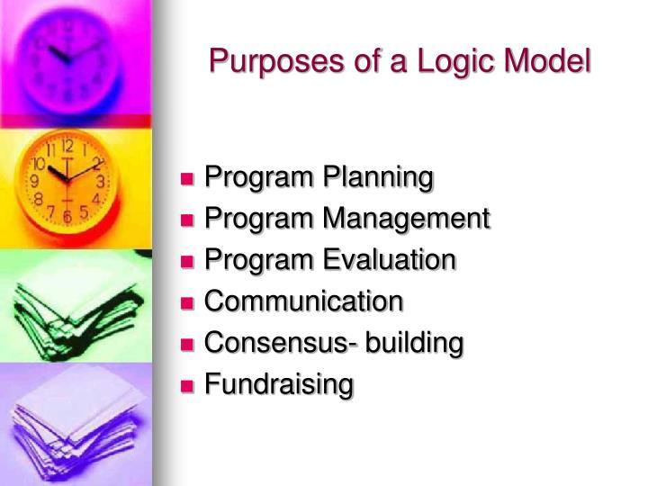Purposes of a Logic Model