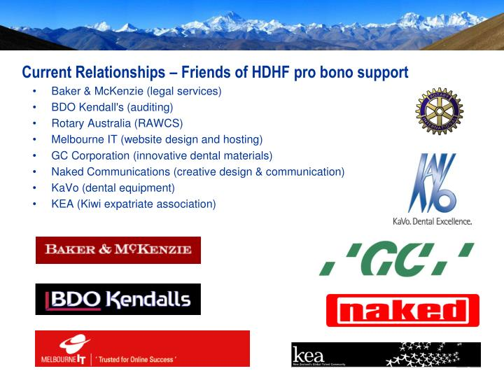Current Relationships – Friends of HDHF pro bono support