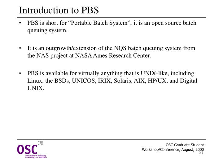 Introduction to PBS
