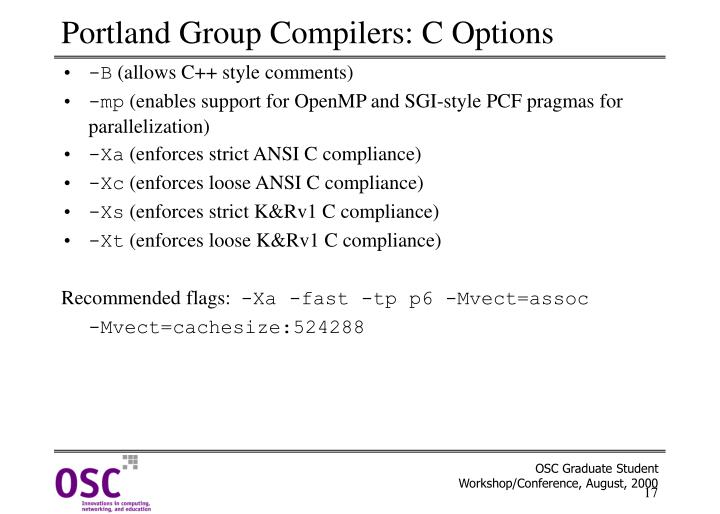 Portland Group Compilers: C Options