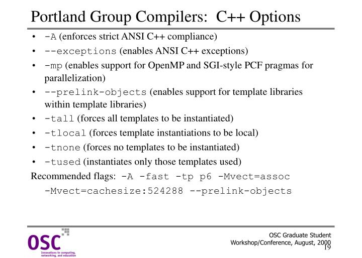 Portland Group Compilers:  C++ Options