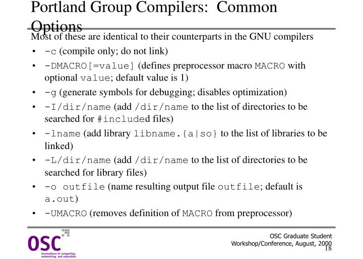 Portland Group Compilers:  Common Options