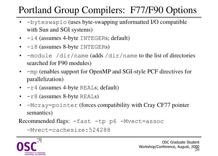Portland Group Compilers:  F77/F90 Options