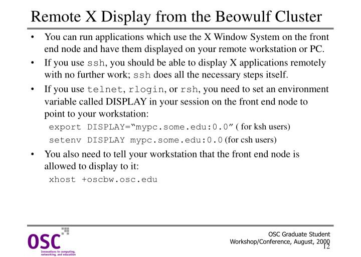 Remote X Display from the Beowulf Cluster