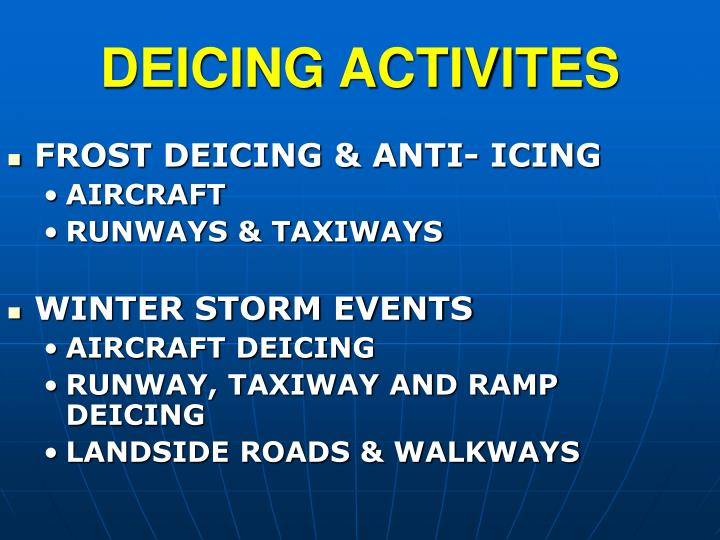 FROST DEICING & ANTI- ICING