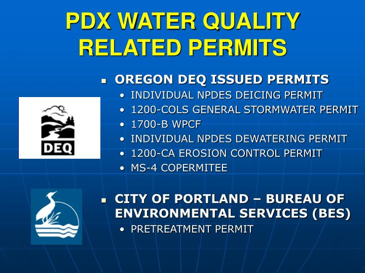 PDX WATER QUALITY RELATED PERMITS