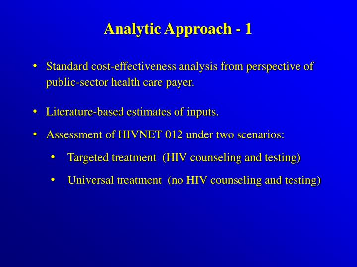 Analytic Approach - 1