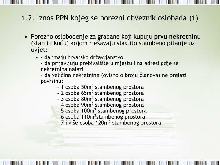 1.2. Iznos PPN kojeg se porezni obveznik oslobađa (1)