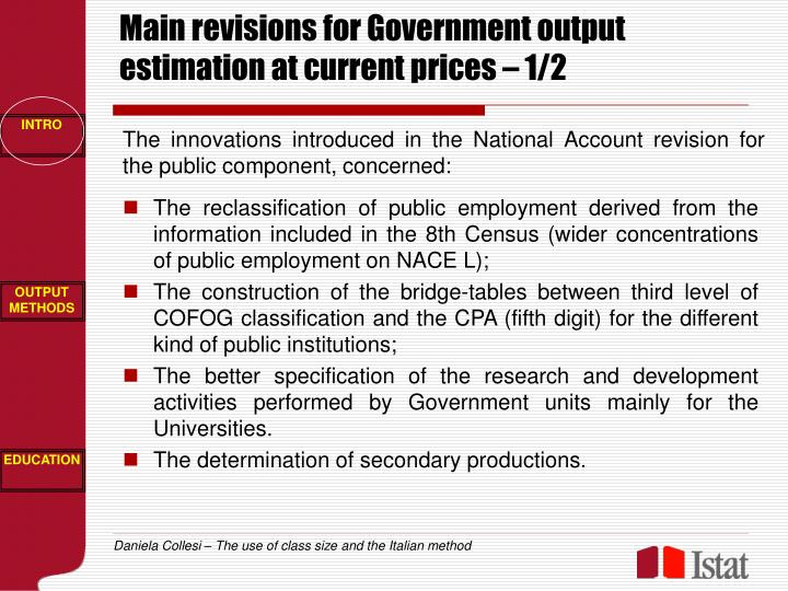 Main revisions for Government output estimation at current prices – 1/2
