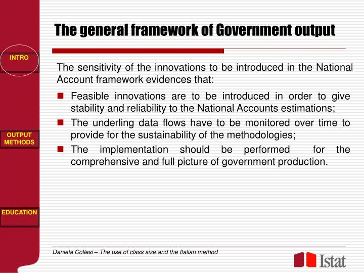 The general framework of Government output