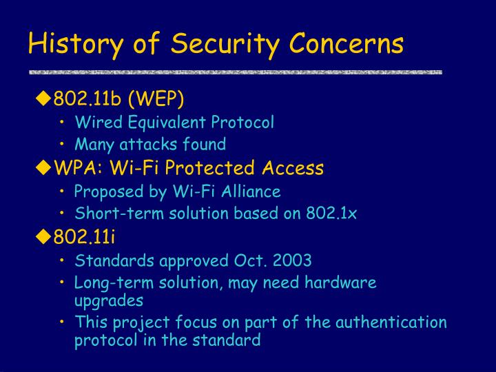 History of security concerns