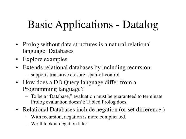 Basic Applications - Datalog
