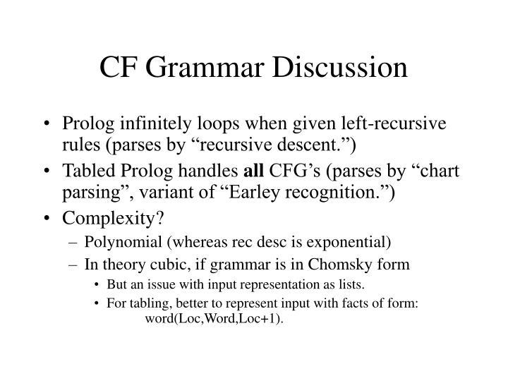 CF Grammar Discussion