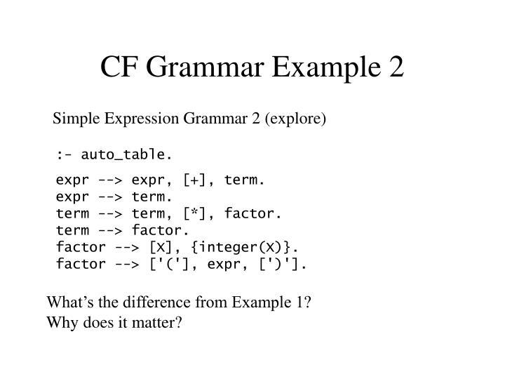 CF Grammar Example 2