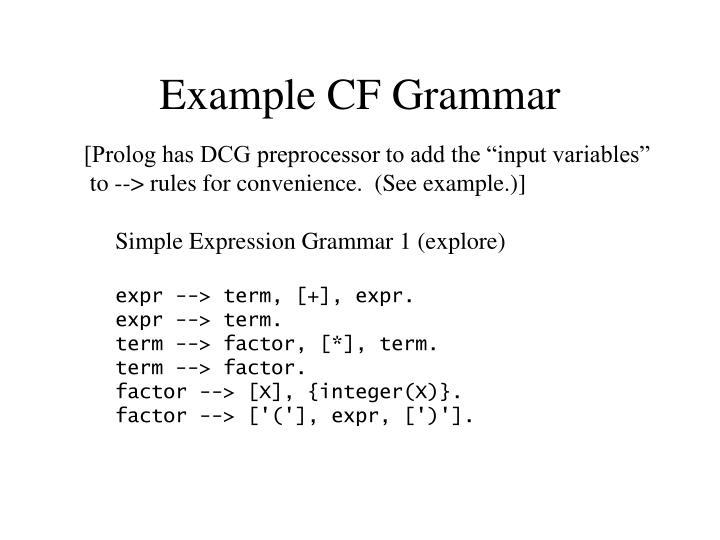 Example CF Grammar