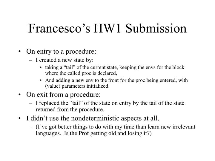 Francesco's HW1 Submission