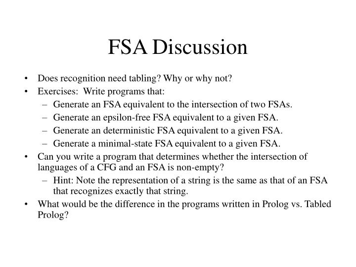 FSA Discussion