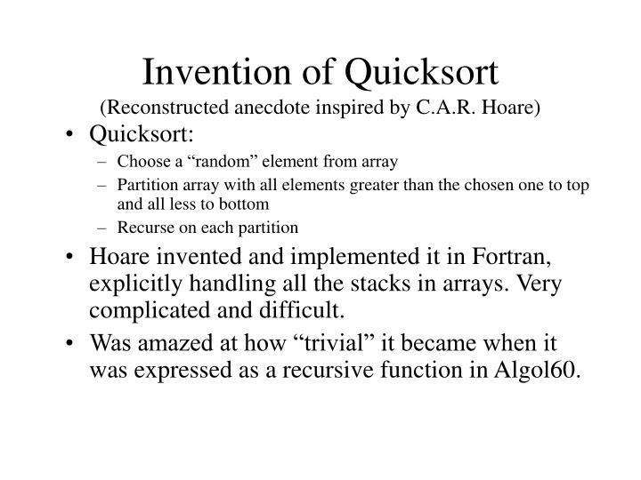 Invention of Quicksort