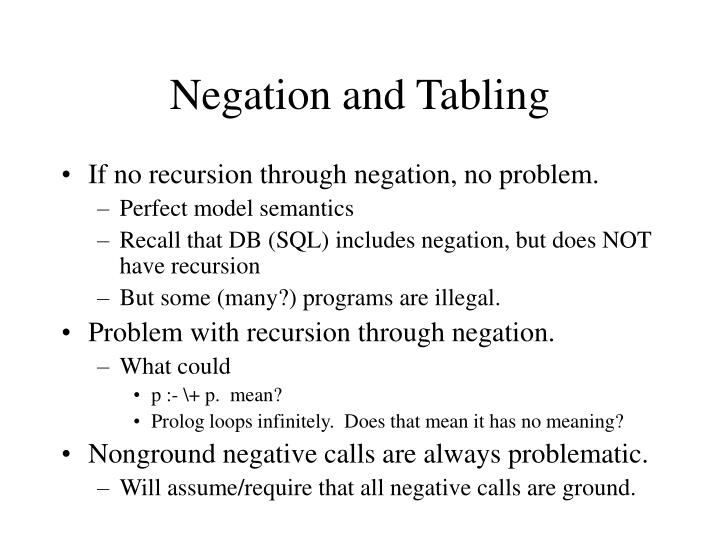 Negation and Tabling