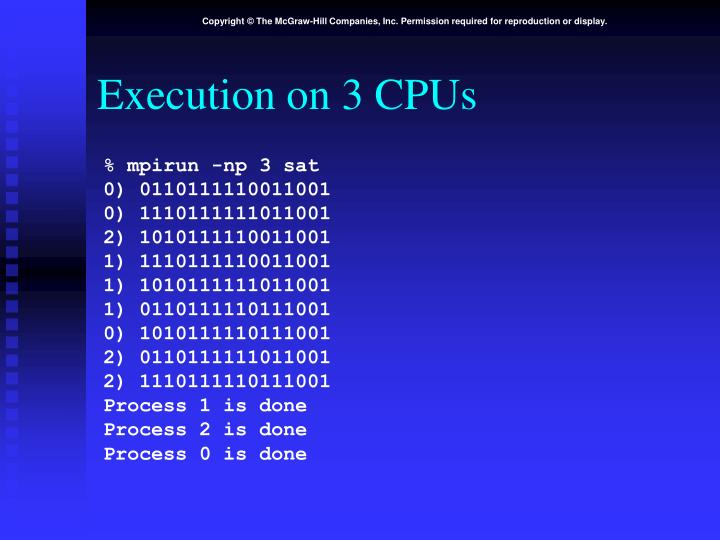 Execution on 3 CPUs